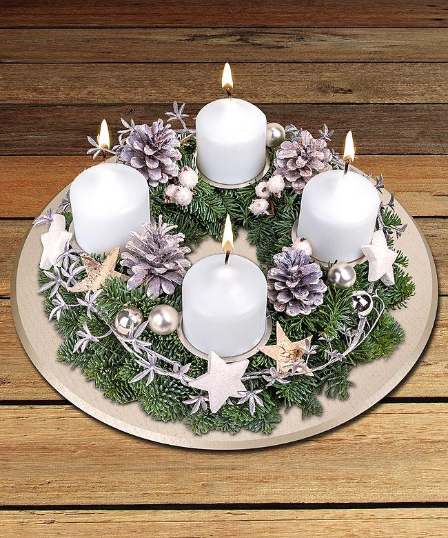 Adventskranz wei e weihnacht jetzt bestellen bei for Adventskranz bestellen